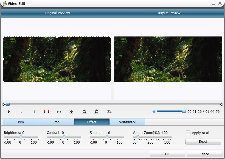 drag and values on brightness contrast and saturation to adjust video effect volumezoom could also be adjusted in output files