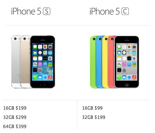 iPhone 5s v.s. iPhone 5c
