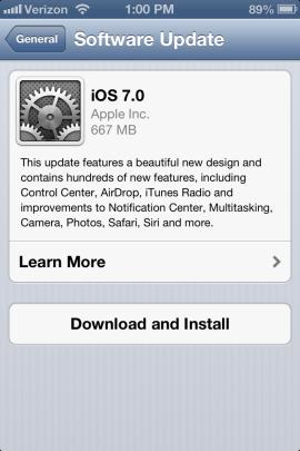 Download iOS 7 update