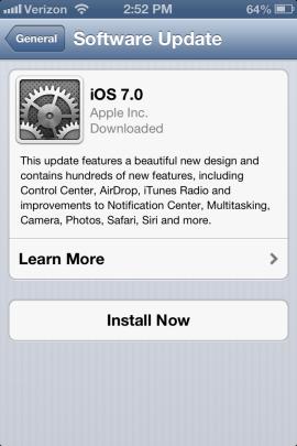 Install iOS 7 update