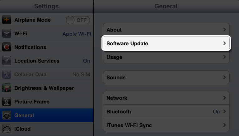Software update settings