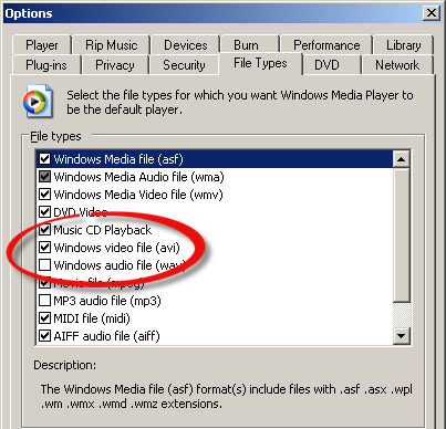 Windows Media Player file association