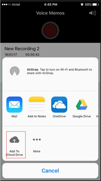 click on the Add To iCloud Drive option