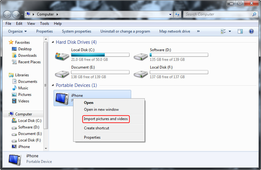 Transfer videos from iPhone to Pomputer with Windows Explorer