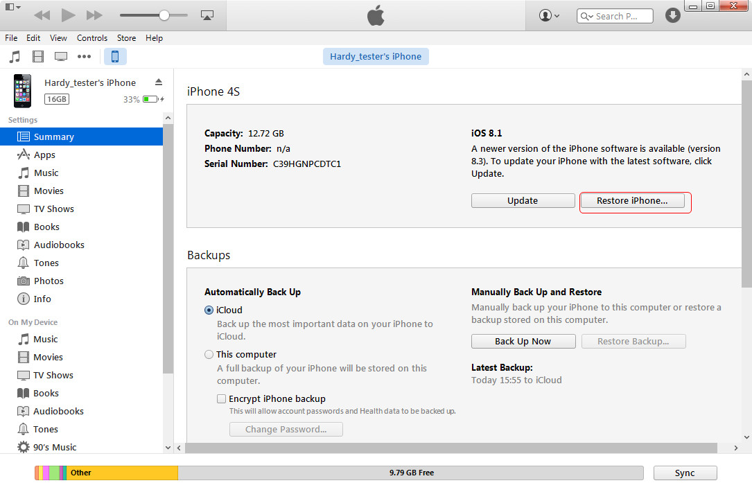 Restore iPhone with iTunes Backup