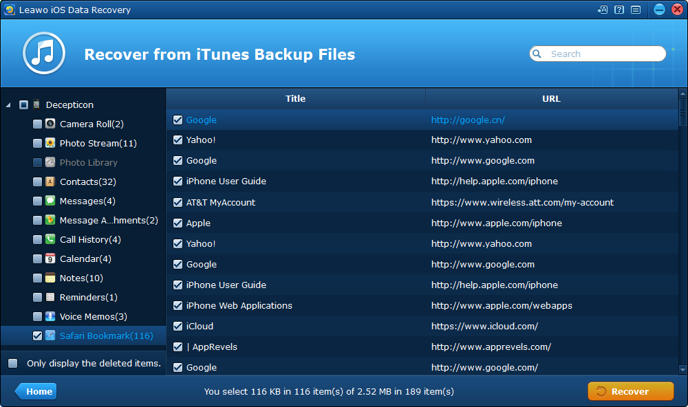 Preview and Select iPad Bookmarks to Recover