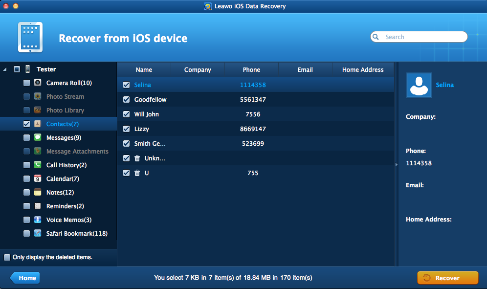 Preview and Select Contacts