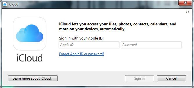 Go to iCloud Control Panel