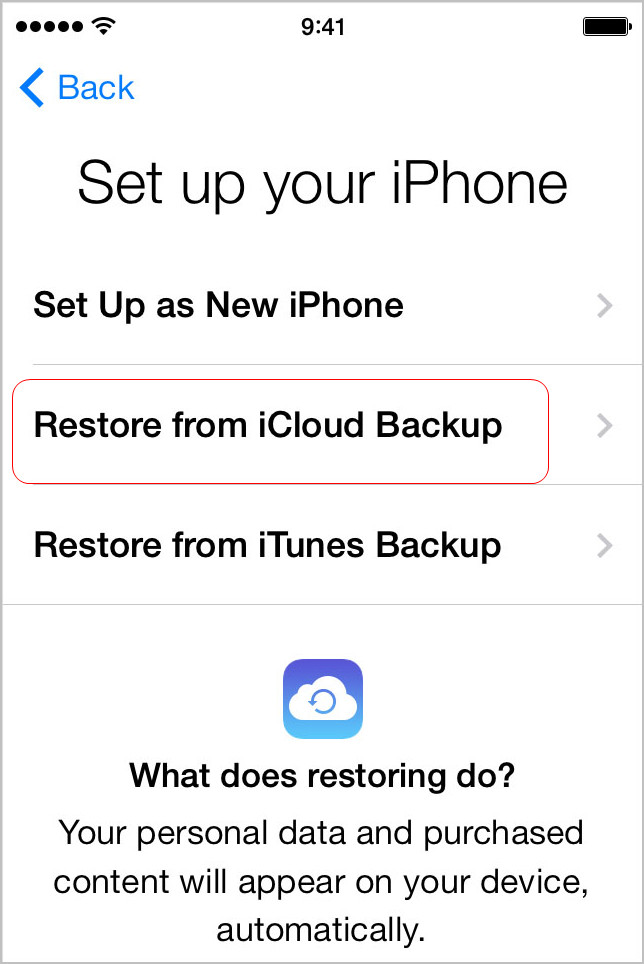 Choose Restore from iCloud Backup