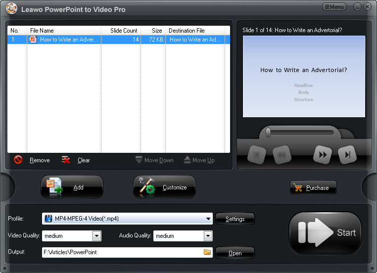 Settings for Converted Video