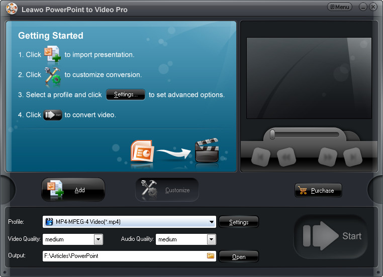 Start Leawo PowerPoint to Video Converter