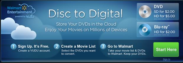 Walmart Disc to Digital Service