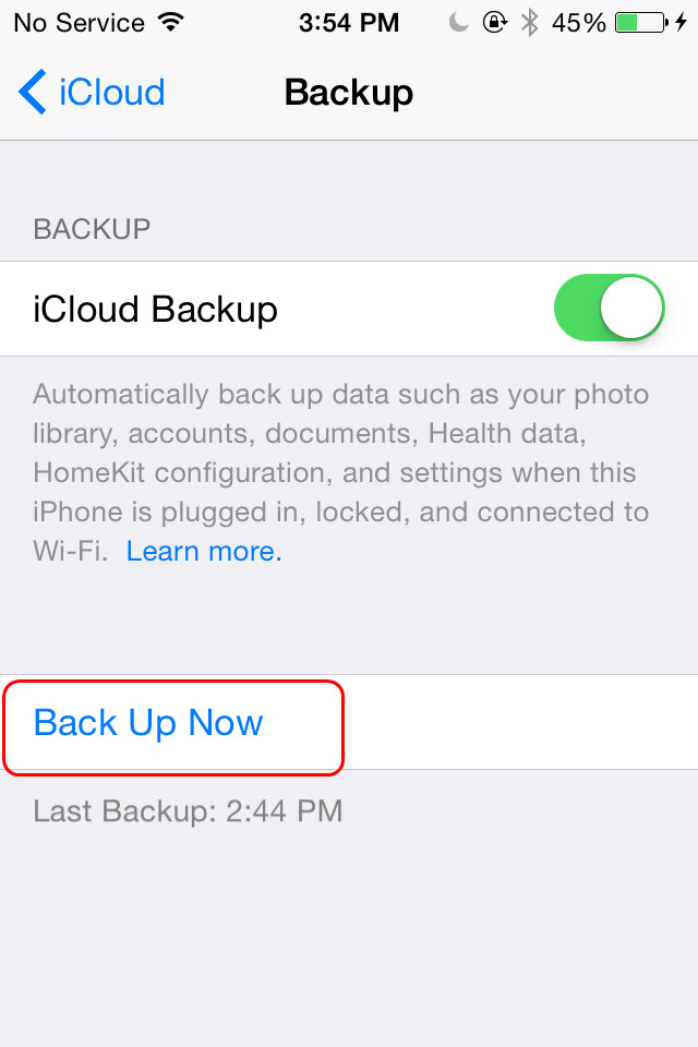 how to change the ipad backup