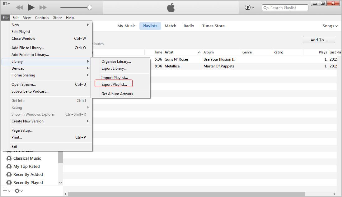 export iphone playlist