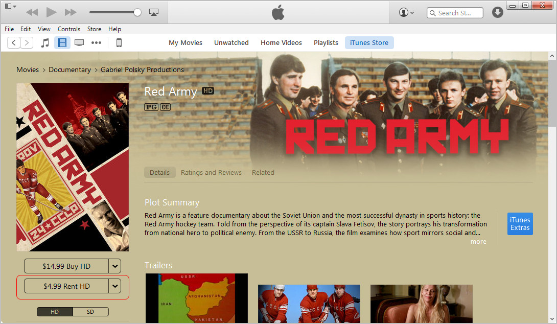rent moives in itunes