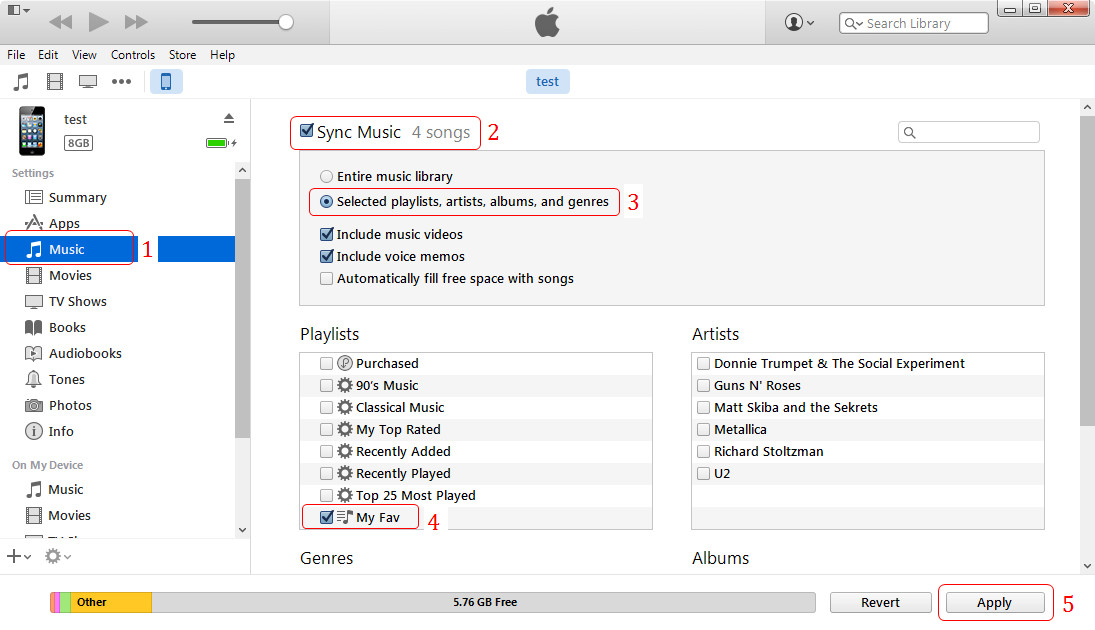 sync playlist to iphone