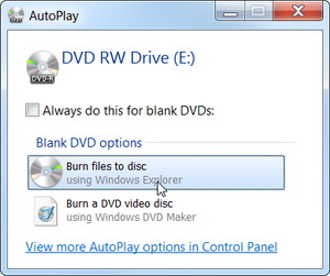 Burn files to disc