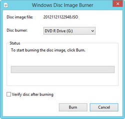 Windows disc image burner