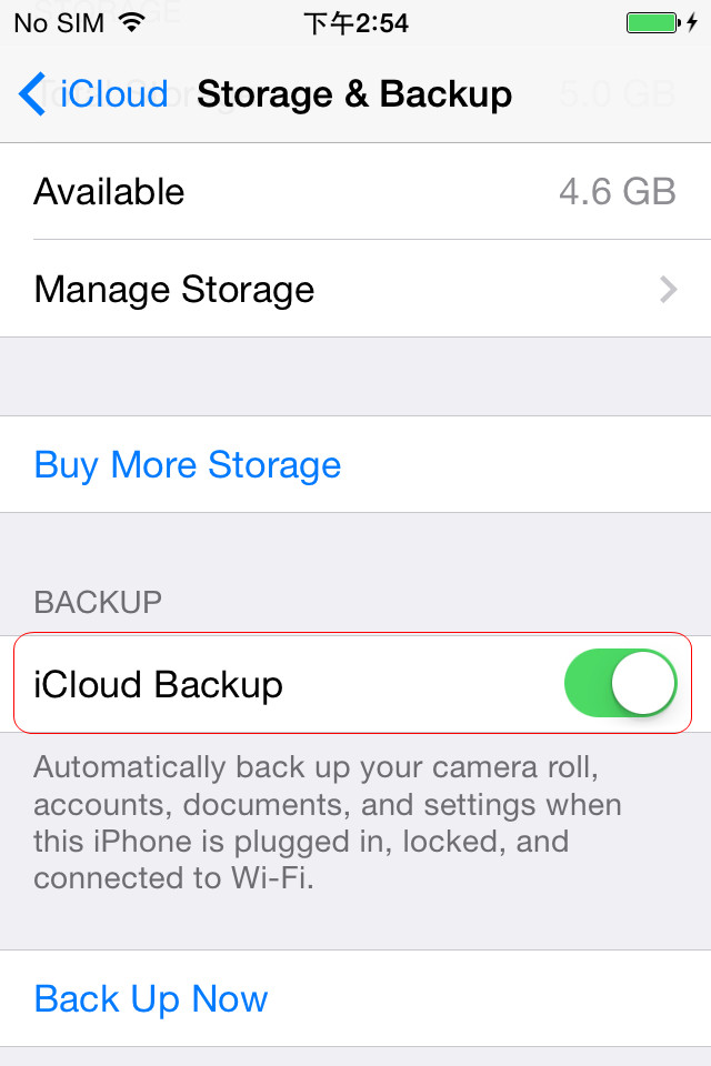 Tap iCloud Backup to ON