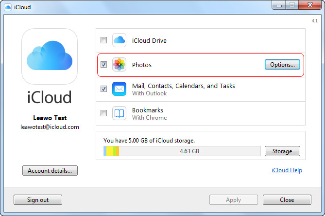 Go to iCloud for Windows