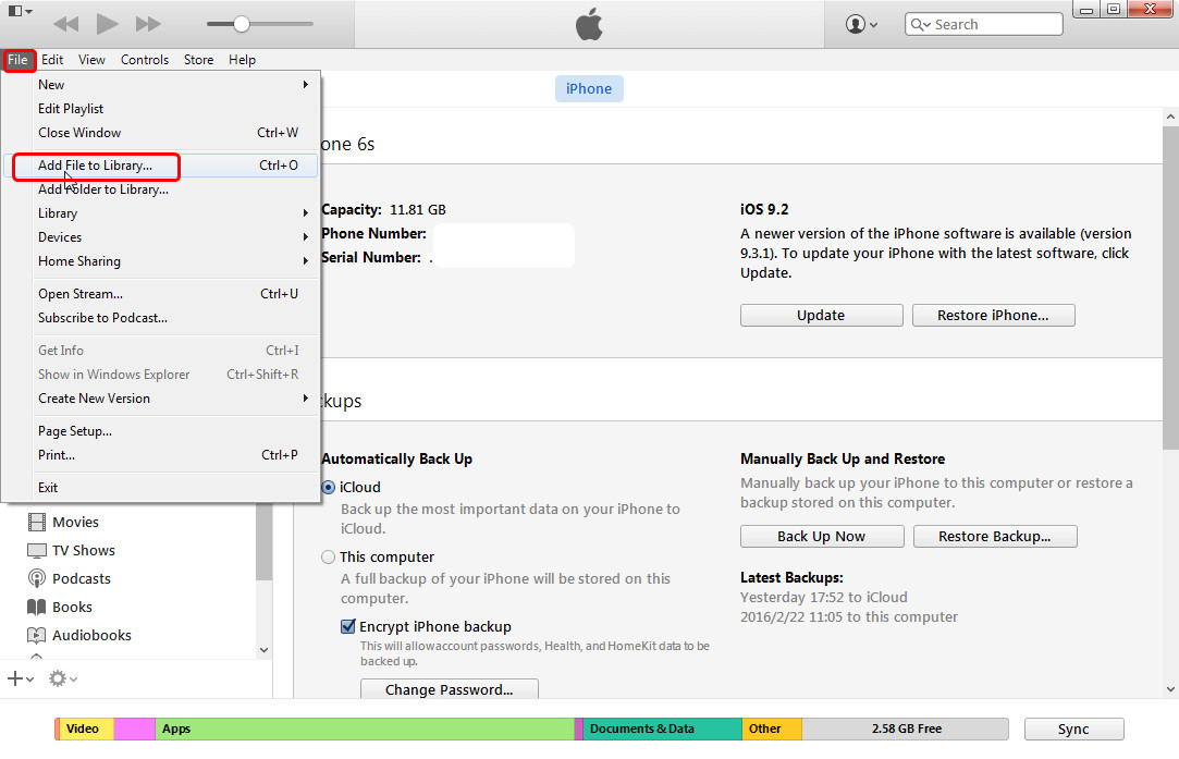 Add Files to iTunes Library