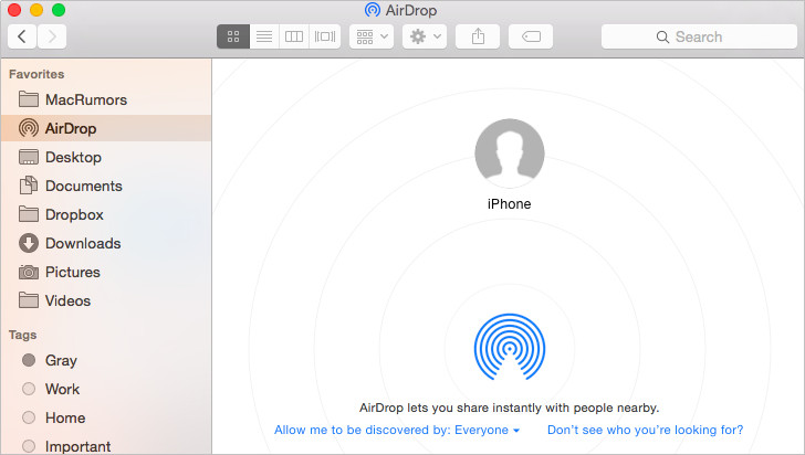 Using AirDrop