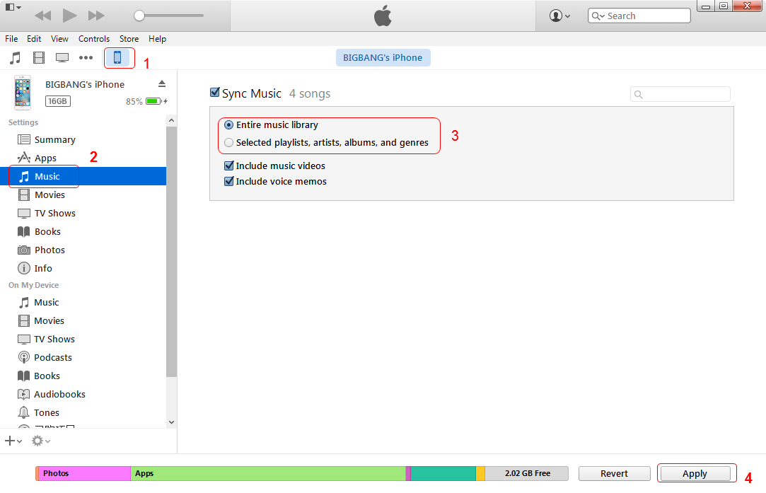 use iTunes to sync music