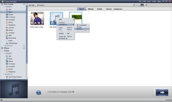 transfer music from ipod to iphone via itransfer