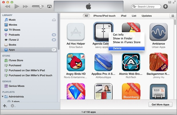 Delete iPad Apps from iTunes