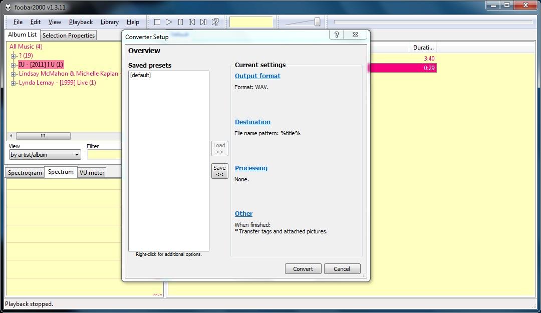 Format setting panel