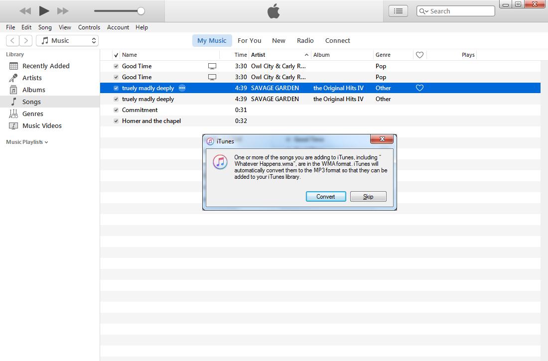 iTunes import WMA
