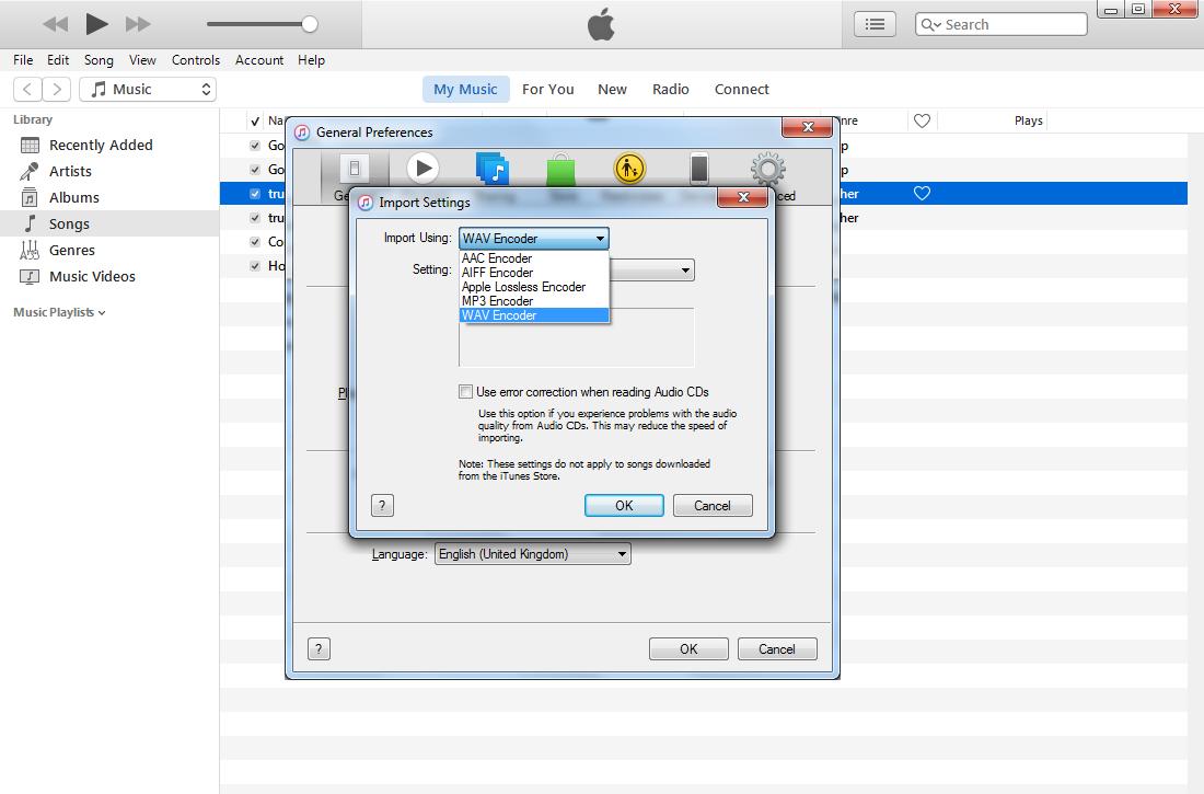 iTunes import settings
