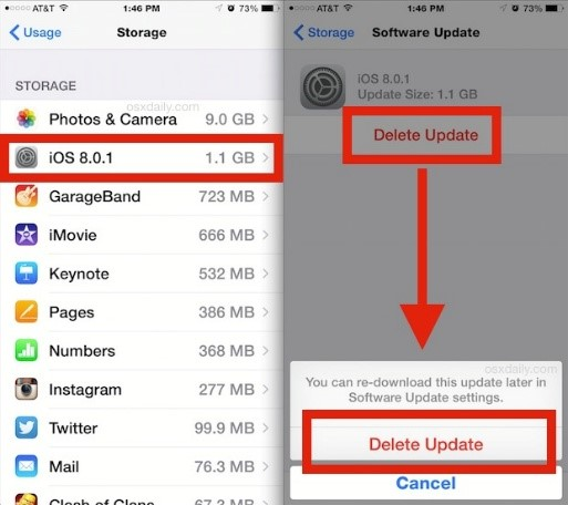 how to delete app updates on iphone