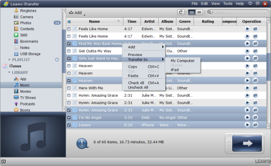 transfer music to ipad