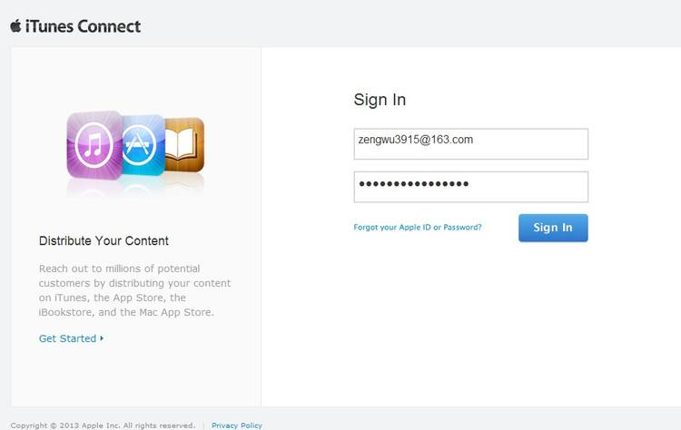 log in to itunes connect