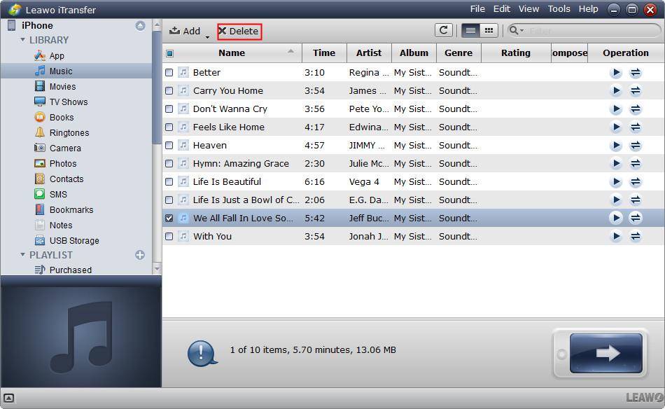 delete junk files via iTransfer
