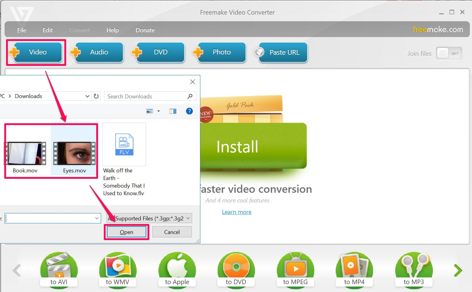 Convert MOV to ISO with FreeMake
