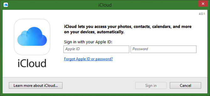 iCloud for Windows Sign in with Apple ID