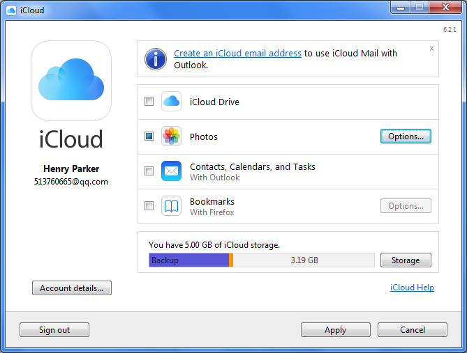 iCloud for Windows Select Photos