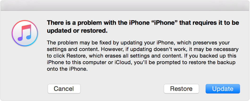 iPhone Recovery Mode update