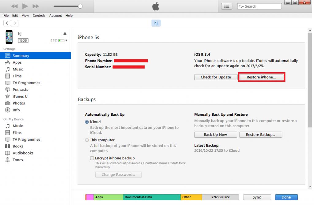 iTunes Summary Restore iPhone
