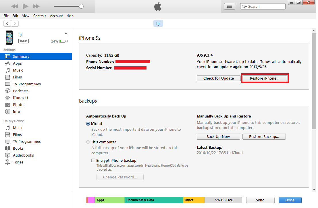 iTunes Restore iPad