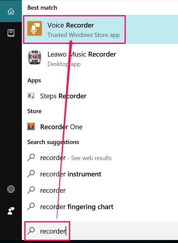 find windows sound recorder