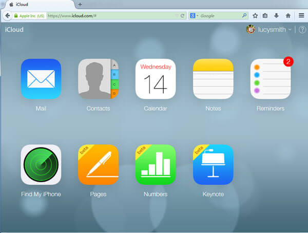 Log in iCloud