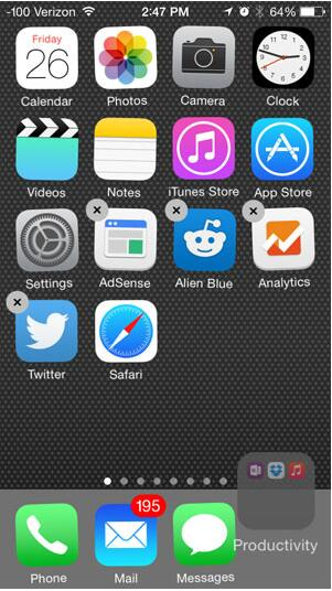 add folder to iphone dock