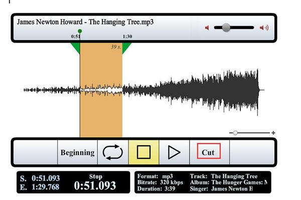 trim mp3 music file online