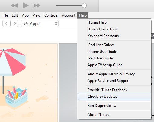 iTunes check for updates