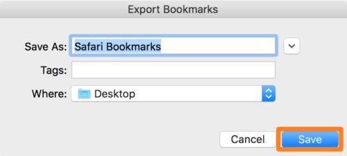 Export iPhone bookmarks