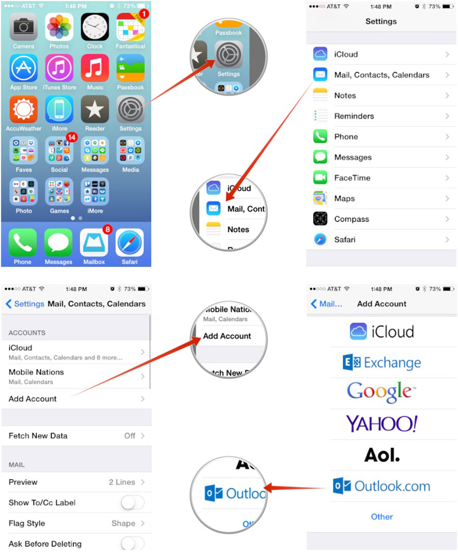 iPhone calendar syncing settings