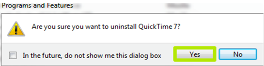 uninstall quicktime for windows